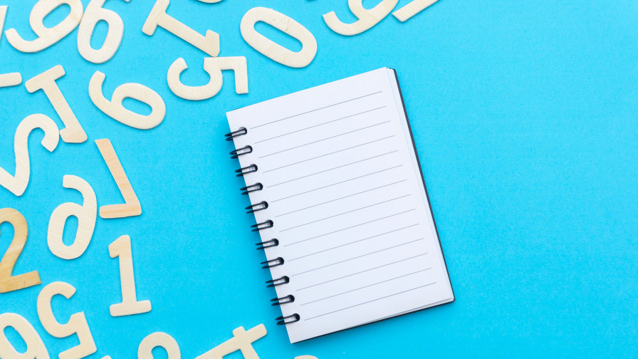 Notebook on blue background